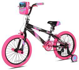 """Kent 18"""" Girls', Sparkles Bike, Black/Pink, For Ages 6-9"""