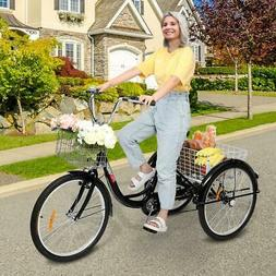 """Cycling 20""""/24""""/26"""" 1/7 Speed Adult Trike Tricycle Basket 3-"""