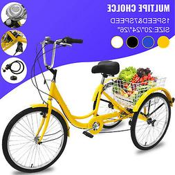 """20/24/26"""" Adult Tricycle 1/7 Speed 3-Wheel Large Basket For"""