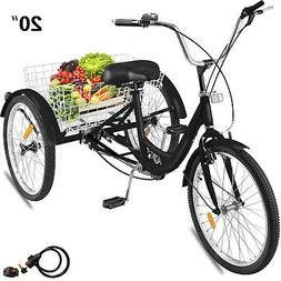 """20"""" Adult Tricycle 3-Wheel 1 Speed Bicycle Trike Cruiser Bla"""