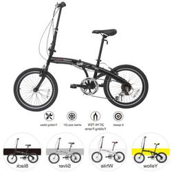 "20"" Folding Mountain Bike Front Suspension 6/7 Speeds Sports"