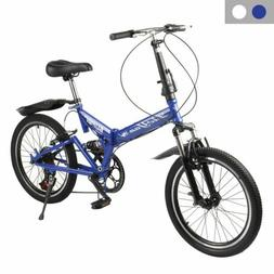 "20"" Lightweight Aluminum Folding Bike Foldable Bicycle, Rack"