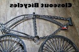 "20/""  CHROME TWISTED LOWRIDER FRAME .TWISTED BIKE FRAME.bicycle frame 157370"