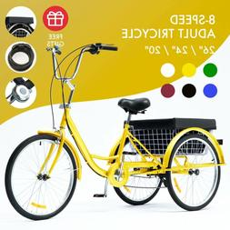 """24""""/20"""" Adult Tricycle Trike with Large Size Basket for Shop"""