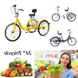"24"" 3-Wheel Shimano 7-Speed Tricycle Trike Bicycle Bike Crui"