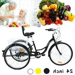 """24"""" Adult 3 Wheel Bicycle Bike Tricycle 6 Speed Basket Cruis"""