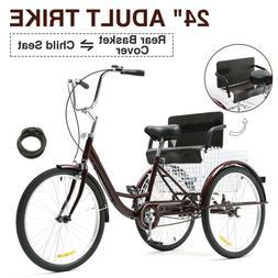 "24""Adult Tricycle 3-Wheel Trike Cruiser Bicycle  w/Basket fo"