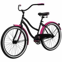 "Huffy 24"" Cranbrook Girls Cruiser Bike for Women, Pink / Bla"