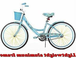 "24"" GIRLS' CRUISER BIKE BLUE ALUMINUM FRAME Lightweight Bi"