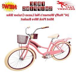 """24"""" Huffy Women's Nel Lusso Cruiser Bike Mint Pink Wire Bask"""