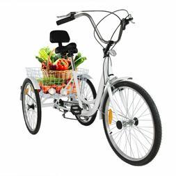 "24"" inch Adult Tricycle 3-Wheel Shimano 7 Speed Bicycle Trik"
