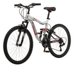 "Mongoose 24"" Ledge 2.1 Boys Mountain Bike - Silver/Red - New"