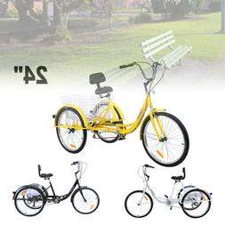 "24"" Unisex Adult Tricycle 3-Wheel Shimano 7-Speed Bicycle Tr"