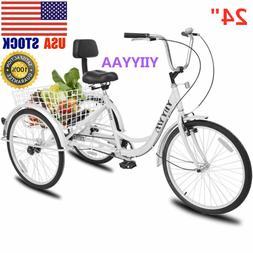 24inch Adult 3-Wheel Tricycle Trike Cruise Bike Bicycle  Adj
