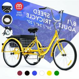 """26""""/24""""/20"""" 1/8 Speed Adult Tricycle Trike Elegant 3-Wheel B"""