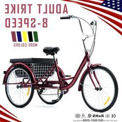 "26""/24""/20"" 8 Speed Adult Tricycle Trike Cruise 3-Wheel Bike"