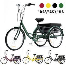 "26""/24""/20"" Trike 8 Speed Adult Tricycle 3-Wheel Bike w/Bask"