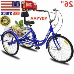 "26"" Adult 3-Wheel Tricycle Trike Cruise Bike Bicycle W/Baske"