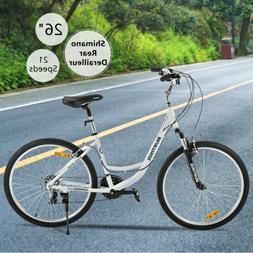 """26"""" Aluminum Women Road Bike 21 Speeds Shimano Bicycle Front"""