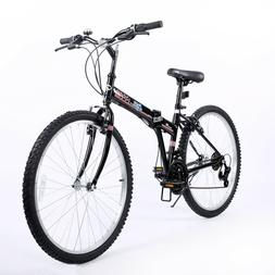 26'' Folding Bike Black 21 Speed  Steel Frame V-brake