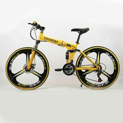 "26"" Folding Mountain Bike 21 Speed Bicycle Full Suspension D"