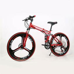 "26"" Folding Mountain Bike 21 Speed Bicycle Full Suspension D"