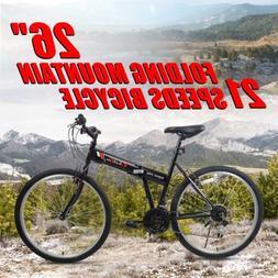 "26"" Folding Mountain Bike 21 Speeds Bicycle Shimano Gear Fol"