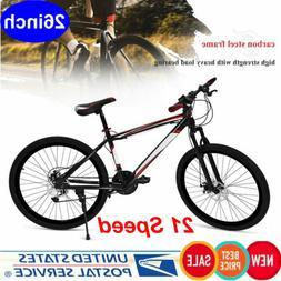 """26"""" Mountain Bike 21 Speed Dual Disc Brake Damping Adults Bi"""