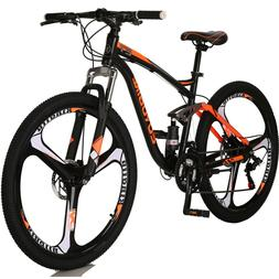"27.5"" Mountain Bike Full Suspension Shimano 21 Speed Disc Br"