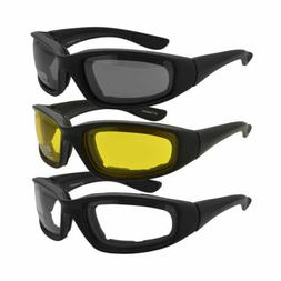 Pro Motorcycle Bicycle Riding Glasses Padded Clear Yellow Wi