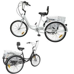 "3-Wheel 6-Speed 24"" Adult Tricycle Bicycle Trike Cruise + He"