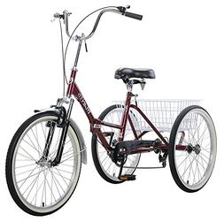 """Velor 3-Wheel 20"""" Folding Tricycle 7-Speed Shimano Gears Tri"""