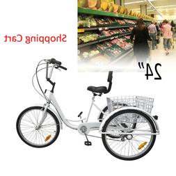 24inch 3-Wheel Unisex Adult Tricycle Trike Bicycle Cruise 6-