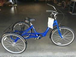 "3 wheels Adult 26"" Tricycle Folding Aluminum frame blue Loca"