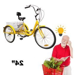 """3-Wheels Trike 24"""" Adult Elder Tricycle Shimano 6-Speed Bicy"""