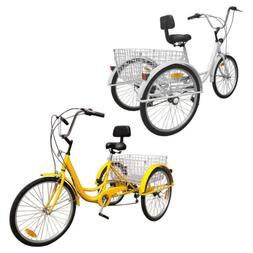 """6/7-Speed 24"""" Adult 3-Wheel Tricycle Bicycle Cruise Bike W/"""
