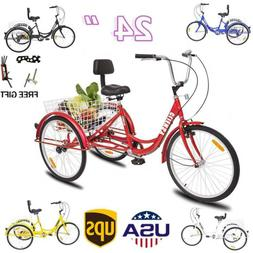 "7-Speed Shimano 24"" Adult 3Wheel Tricycle Trike Cruise Bike"