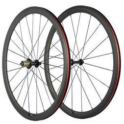 700C 38mm Clincher Carbon Wheelset Road Bike Wheels HandBuil