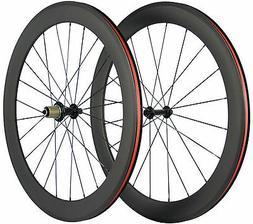 700C Carbon Fiber Wheels 60mm Clincher Wheelset Road Bicycle