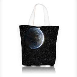 Canvas Tote Bag View of Planet Earth from the Moon Dark Cosm