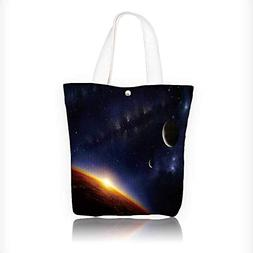 Canvas Tote Bag of an alien planet in space with two moons a