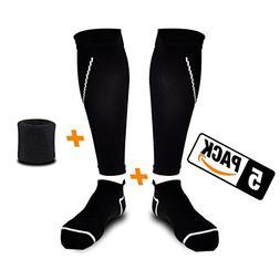 Compression Calf Sleeve + Athletic Socks + Wrist Sweatband
