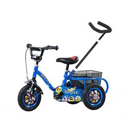 Tauki Kids Tricycle with Adjustable Push Bar and Rear Basket