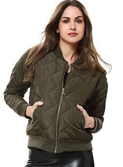 Women's Short Zip-Up Quilted Padded Bike Coat Bomber Jacket