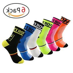 Yijiujiuer 6 Pack Men's Cycling Socks Sports Running Socks f