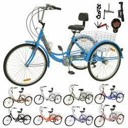 "Adult 24""/26"" 7/1 Speed 3-Wheel Tricycle Trike Bicycle Bike"