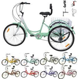 """Adult 24""""/26"""" 7/1 Speed 3-Wheel Tricycle Trike Bicycle Bike"""