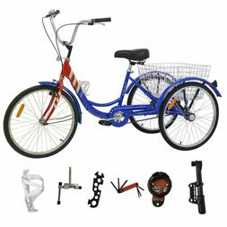"Adult 24""3-Wheel 1-Speed Tricycle Trike Bicycle Bike Cruise"