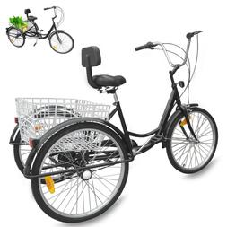 "Ridgeyard Adult 24""3-Wheel Trike Bicycle 7-Speed Tricycle Cr"