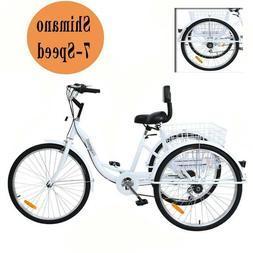 "Adult 24"" 3-Wheel White Trike Bicycle Shimano 7-Speed Tricyc"